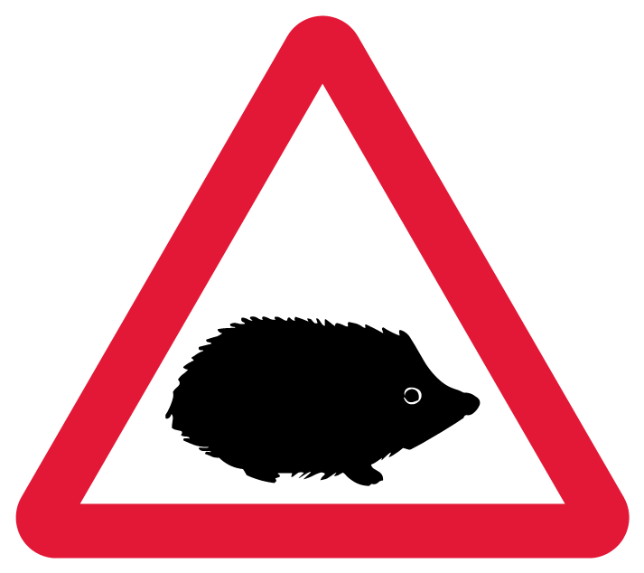 The new hedgehog warning sign